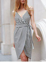 Self-Tie Dovetail High Low Striped Casual Dress - WHITE AND BLACK S