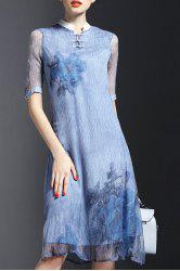 Retro Style Stand Collar Half Sleeve Floral Pattern Women's Dress -