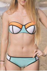 Sexy Spaghetti Strap Push Up Color Block Two Piece Women's Swimwear -
