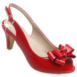 Stylish Patent Leather and Bowknot Design Sandals For Women