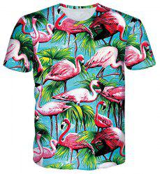 Stylish Round Neck 3D Red-crowned Crane Print Short Sleeves T-Shirt For Men -