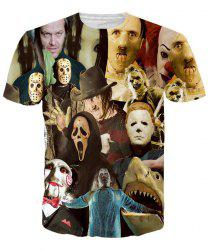 Hot Sale Round Neck 3D Mask People Short Sleeves T-Shirt For Men -
