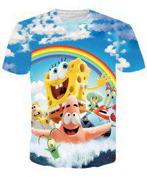 Funny SpongeBob SquarePants Print Round Neck Short Sleeves 3D T-Shirt For Men