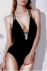 Printed Cut Out One Piece Monokini Swimwear