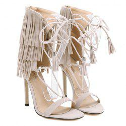 Stiletto Heel Gladiator Fringe Sandals