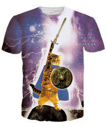 Vogue Mars Cat Print Round Neck Short Sleeves 3D T-Shirt For Men - COLORMIX