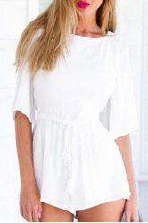 Stylish Jewel Neck Half Sleeve White Backless Women's Playsuit