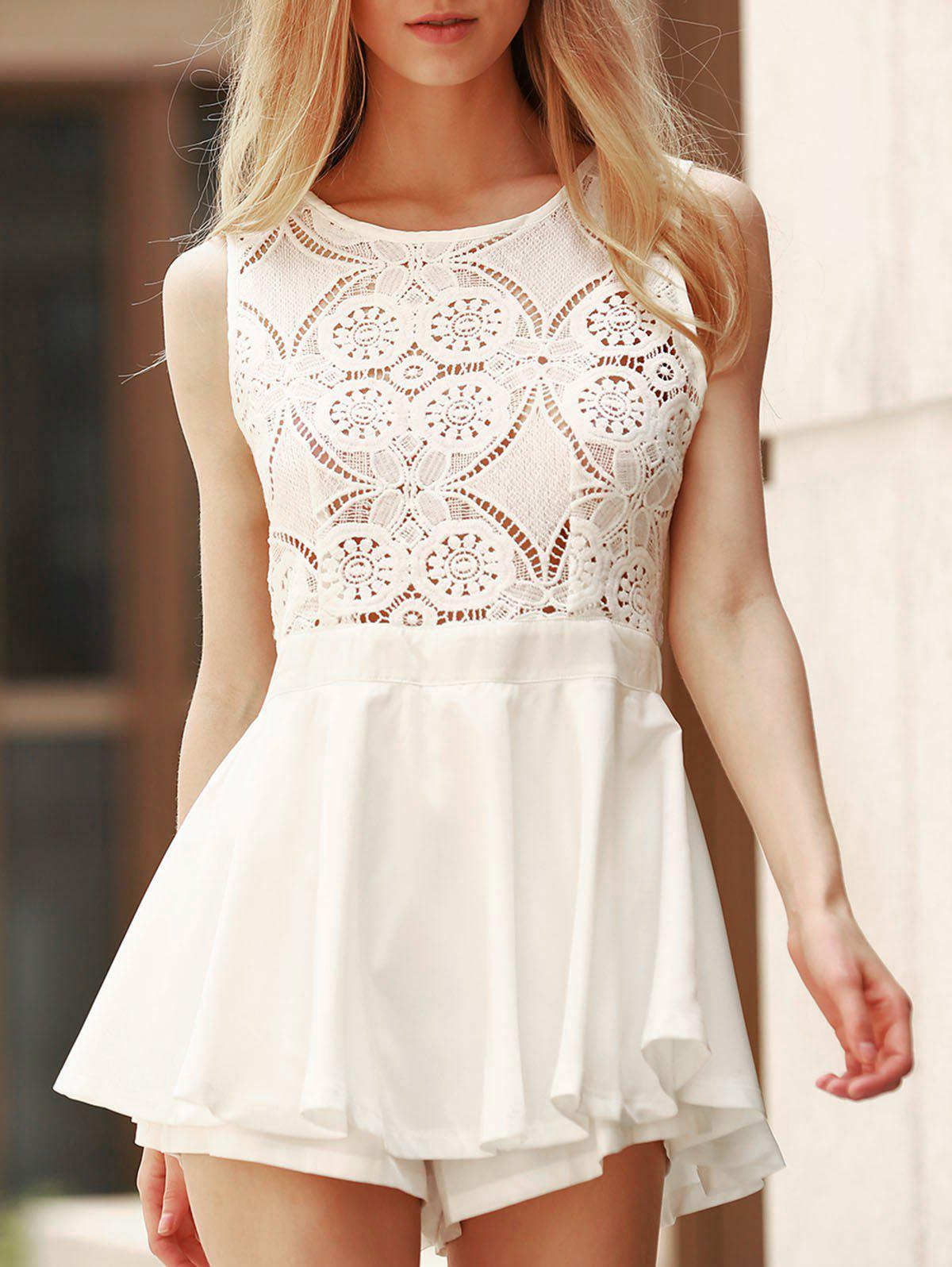 Latest Lace Design Flounced Open Back Romper