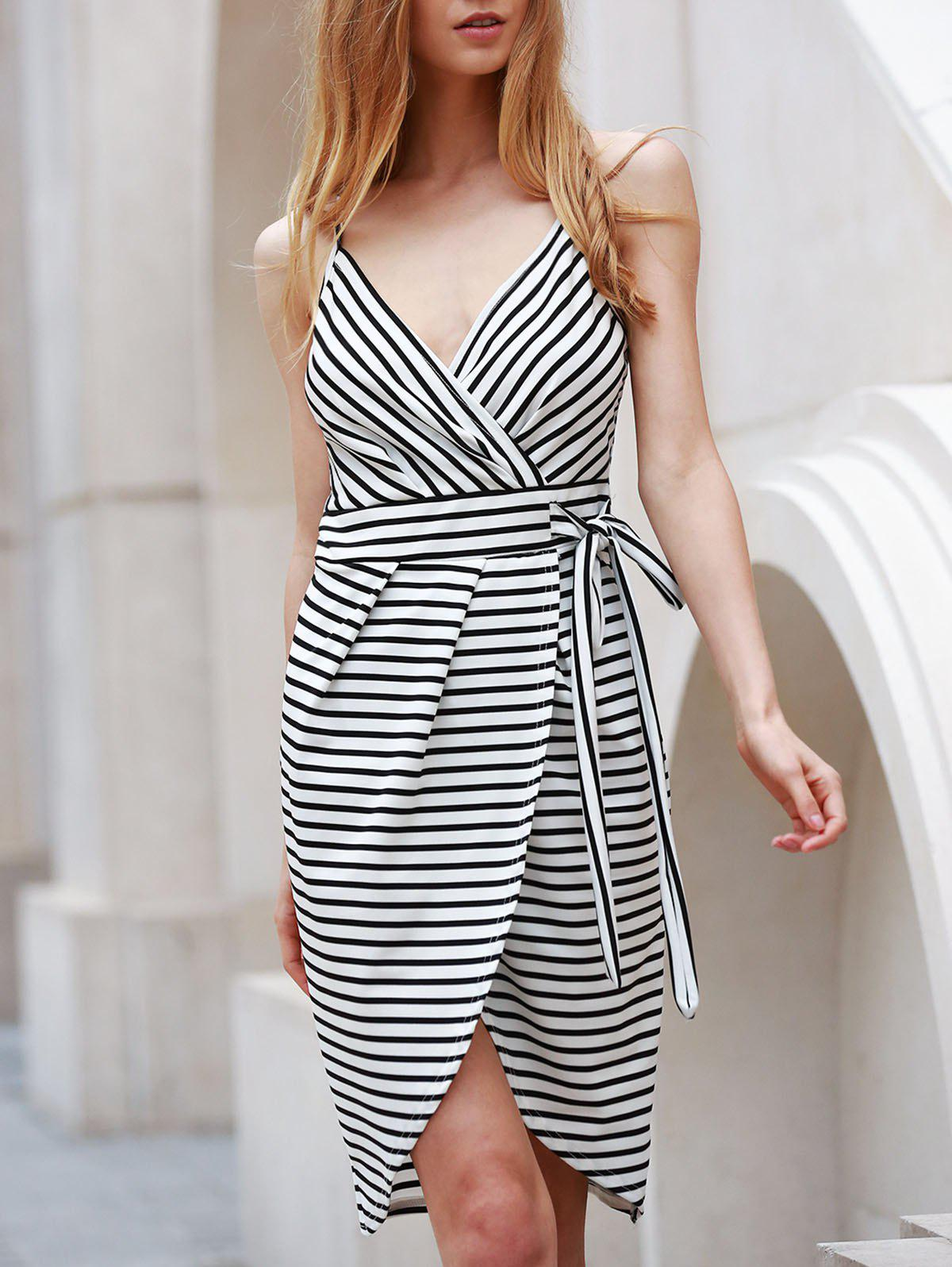 2018 Self Tie Dovetail High Low Striped Casual Dress In