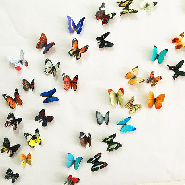 3D Colorful Butterflies Removeable Decorative Wall StickersHOME<br><br>Color: COLORMIX; Wall Sticker Type: Plane Wall Stickers; Functions: Decorative Wall Stickers; Theme: Animals,Cartoon,Shapes; Material: PVC; Feature: Removable; Weight: 0.396kg; Package Contents: 1 x Wall Stickers?Set?;