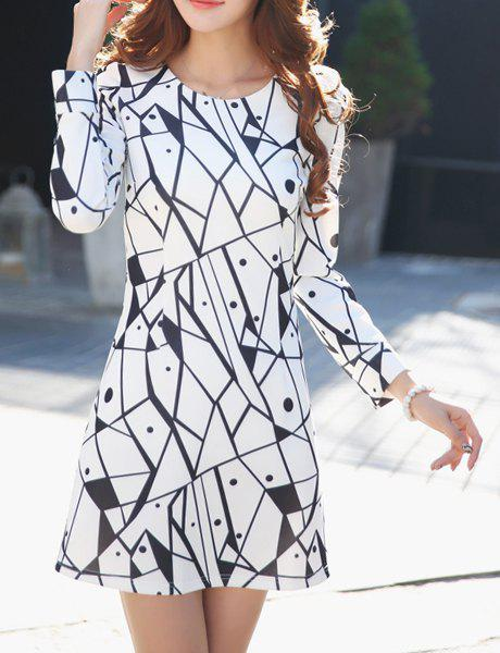 Outfit Women's Stylish Long Sleeve Print Scoop Neck A-Line Dress