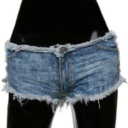 Affordable Trendy Side Lace-Up Design Ripped Denim Shorts For Women