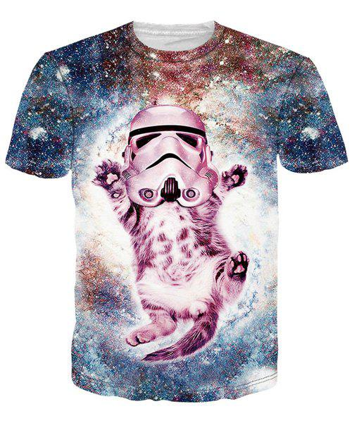 Best 3D Funny Star Cat Print Round Neck Short Sleeves T-Shirt For Men