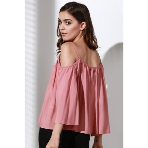 Flare Sleeve Loose Fit Trapeze Top - PINK L