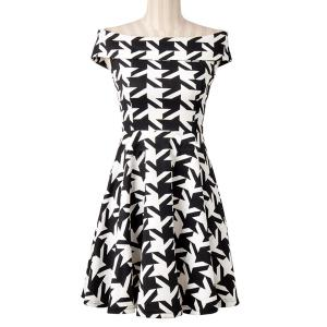 Endearing Off-The-Shoulder Houndstooth Printed High Waist Dress For Women -