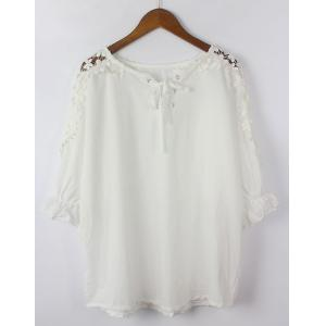 Cutwork Lace Up Blouse - WHITE ONE SIZE(FIT SIZE XS TO M)