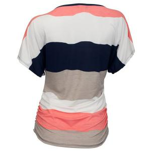 Casual Round Neck Striped Women's Plus Size T-Shirt -