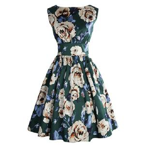 Retro Style Sleeveless Round Neck Floral Print Women's Dress