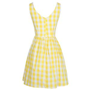 Retro Style Sleeveless Round Neck Plaid Women's Dress -