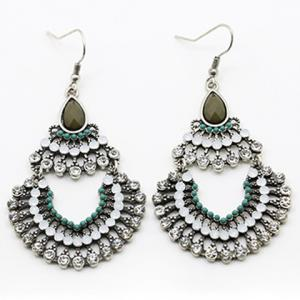 Pair of Retro Rhinestone Semi-Circle Drop Earrings