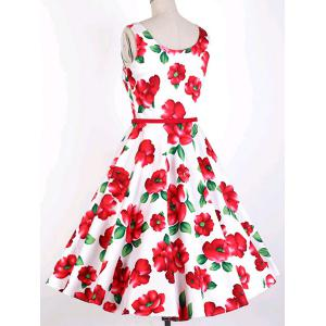 Vintage Jewel Neck Sleeveless Floral Print Belted Flare Dress For Women -
