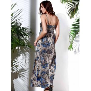 Casual Spaghetti Strap Abstract Printed Maxi Dress For Women - COLORMIX S