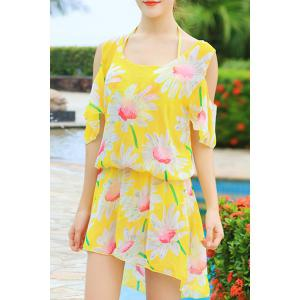 Refreshing Halter Sunflower Print Three Piece Swimsuit For Women - Light Yellow - Xl