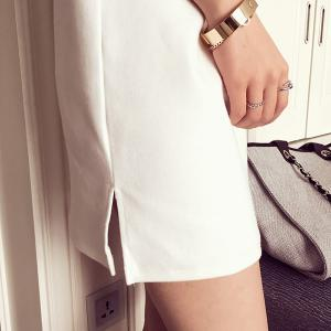 Chic Round Collar Short Sleeve Number Pattern Women's Dress - WHITE ONE SIZE(FIT SIZE XS TO M)