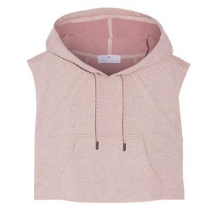 Women's Active Hooded Sleeveless Candy Color Hoodie - LIGHT PINK M