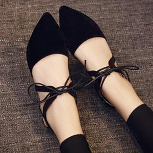 Trendy Lace-Up and Solid Color Design Flat Shoes For Women - BLACK 39