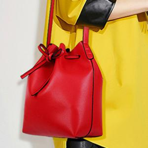Vintage Drawstring and PU Leather Design Crossbody Bag For Women -