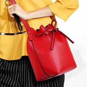 Vintage Drawstring and PU Leather Design Crossbody Bag For Women - RED