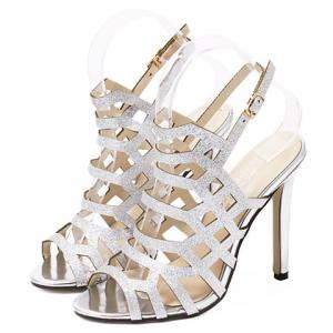 Stiletto Heel Slingback Caged Sandals - SILVER 38