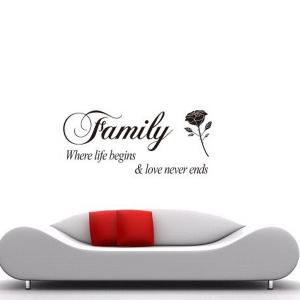 Rose and Letter Removeable Wall Sticker Quotes -