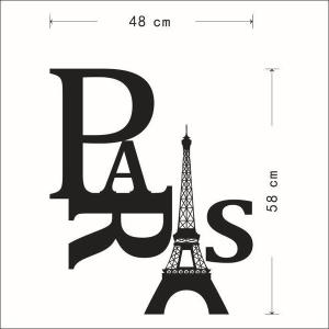 Stylish Eiffel Tower and Letter Pattern Removeable Wall Sticker - BLACK