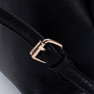 Preppy Style Drawstring and PU Leather Design Backpack For Women -