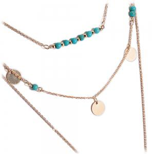 Retro Faux Turquoise Sequins Leaf Layered Necklace -