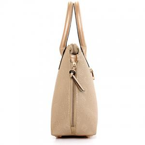 Stylish Metal and Embossing Design Tote Bag For Women - PLATINUM