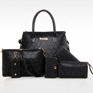 Stylish Metal and Embossing Design Tote Bag For Women - BLACK