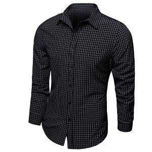 Color Block Checked Turn-down Collar Long Sleeves Shirt For Men