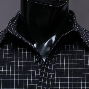 Color Block Checked Turn-down Collar Long Sleeves Shirt For Men - BLACK M
