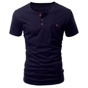 One Pocket Multi-Button Round Neck Short Sleeves T-Shirt For Men - Deep Blue - Xl
