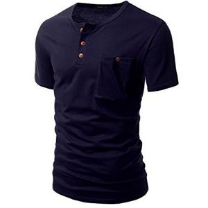 One Pocket Multi-Button Round Neck Short Sleeves T-Shirt For Men - DEEP BLUE M