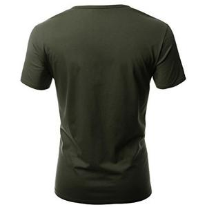 One Pocket Multi-Button Round Neck Short Sleeves T-Shirt For Men - ARMY GREEN L