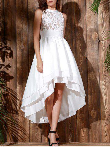 New High Low Maxi Wedding Formal Dress - XL WHITE Mobile