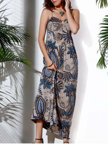 Sale Casual Spaghetti Strap Abstract Printed Maxi Dress For Women