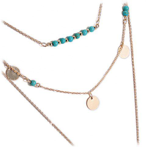 Hot Retro Faux Turquoise Sequins Leaf Layered Necklace - GOLDEN  Mobile