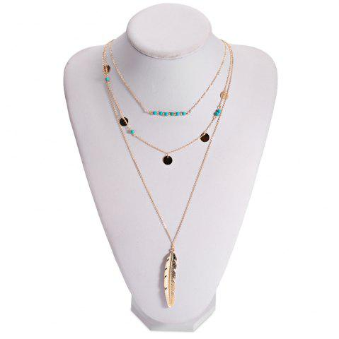 Buy Retro Faux Turquoise Sequins Leaf Layered Necklace - GOLDEN  Mobile