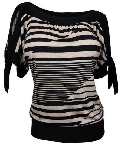 New Loose Short Sleeve Striped Women's Plus Size T-Shirt
