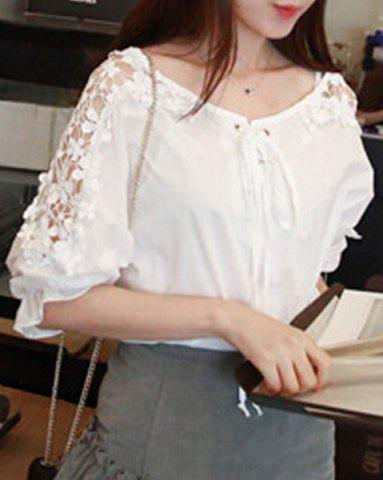 Unique Cutwork Lace Up Blouse WHITE ONE SIZE(FIT SIZE XS TO M)